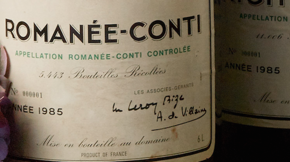 Una Romanée Conti del 1985 venduta a un milione di franchi svizzeri
